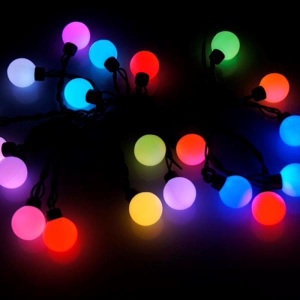 Festoon Party Lights Multi Colour Led Round Bulbs