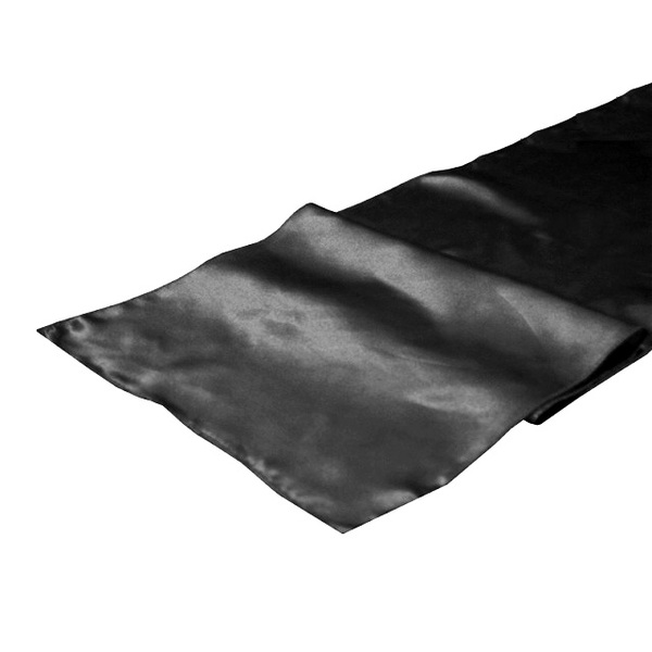 charcoal grey almost black satin table runner wedding party chair sash