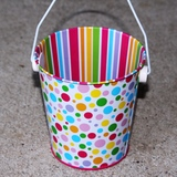 10pk Confetti & Ribbons Tin Buckets Wedding Party Favours