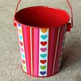 10pk Hearts and Stripes Tin Wedding Party Favour Buckets