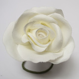 White Rose Velveteen Bloom Flower and Stem