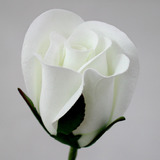 White Rose Bud Velveteen Flower and Stem