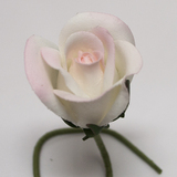 White/Pink Rose Bud Velveteen Flower and Stem