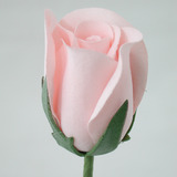 Soft Pink Rose Velveteen Bud Flower and Stem