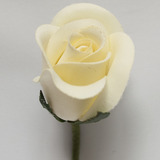 Lemon Yellow Rose Bud Velveteen Flower and Stem