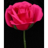 Fuschia Rose Velveteen Bloom Flower and Stem