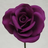 Purple Rose Velveteen Bloom Flower and Stem