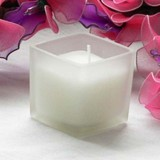 12pk Cube Frosted Glass Tealight Votive Candles