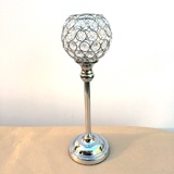 Set of 12 Crystal Beaded Goblet Candelabras