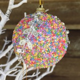 12pk Christmas Decorations Rainbow Coloured Silver Leaf Hanging Christmas Tree Ornaments