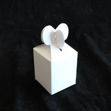 50pk Matte White Heart Favour Boxes