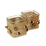 Glass Tealight Candle Holders Hessian Burlap Jute & Buttons Cube 7.5cm - Pack of 2