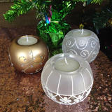 6pk Hand Painted Glass Tealight Candle Holder