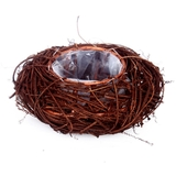 Small Natural Dark Brown Twig Rattan Bowl Shaped Basket