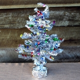 Tinsel Christmas Tree Table Centrepiece