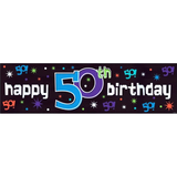 3.65m 50th Birthday The Party Continues Foil Banner