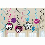 12pk Monster High Hanging Swirl Decorations