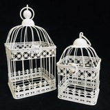 Large Square Classic Bird Cage - White