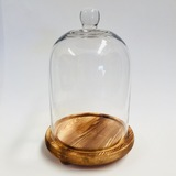 Large Glass Dome with Wooden Base