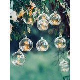 4pk Glass Hanging Bauble Tealight Holders