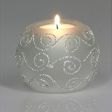 Silver Swirl Glass Tealight Holder with Candle