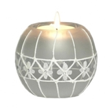 Lace Design Frosted Tealight Holder with Candle