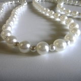 1.7m White Large & Small Pearl String Beaded Garland
