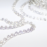 1m Silver Twin Diamante Chain