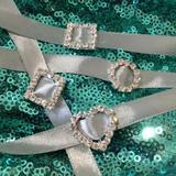 25pk Mini Diamante Ribbon Sliders