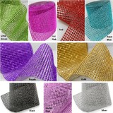 9m Coloured Diamond Rhinestone Mesh Ribbon - Bulk Buy