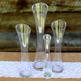 Set of 4 Curved Narrow Waist Wedding Sand Ceremony Glass Vases