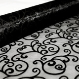 Black Swirl Organza Fabric Roll 4.5m x 47cmW