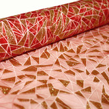 Christmas Red and Gold Glitter Organza Fabric Roll 4.5m x 47cmW