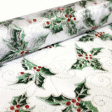 Christmas Holly Glitter Organza Fabric Roll 4.5m x 47cmW