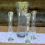 Set of 4 Heart Shaped & Narrow Waisted Wedding Sand Ceremony Glass Vases