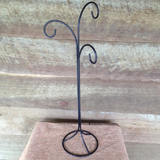 Vintage Black Iron Scroll Hanging Birdcage Stand