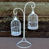 Vintage White Scroll Stand & 2 Hanging Bird Cages Set