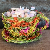 Natural Straw & Grass Flowers Tea Cup & Saucer Planter Basket - Green, Gold & Hot Pink
