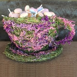 Natural Straw & Grass Flowers Tea Cup & Saucer Planter Basket - Purple, Pink & Green