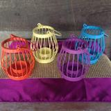 Coloured Bird Cage Tealight Candle Holder
