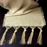 Burlap Table Runner Frayed Tassle Knot Ends