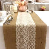 Burlap & Scalloped Lace Combo Vintage Table Runner