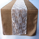 Burlap and Floral Lace Combo Vintage Table Runner