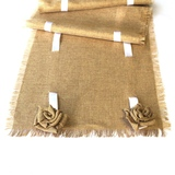 Burlap Rosettes and Satin Ribbon Vintage Table Runner