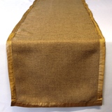 Burlap Gold Satin Border Vintage Table Runner