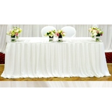 5.5m White Chiffon Box Pleat Table Skirting