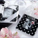 2pk Polka Dot Glass Photo Frame Coasters