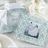 2pk Fleur-de-lis Glass Photo Frame Coasters