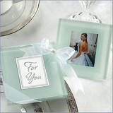2pk Frosted Photo Frame Glass Coasters