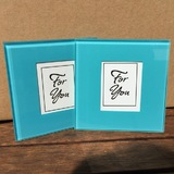 2pk Something Blue Photo Frame Glass Coasters